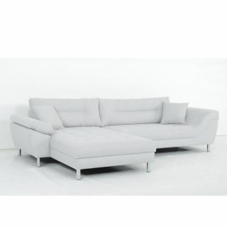 Canapé d'angle Fixe gauche AMSTERDAM tissu Bergamo gris clair