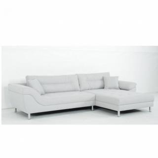 Canapé d'angle Fixe droite AMSTERDAM tissu Bergamo gris clair