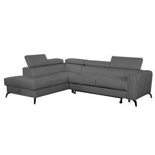 Canapé d'angle gigogne gauche convertible MONTALETTO polyuréthane gris graphite