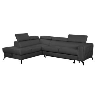 Canapé d'angle gigogne gauche convertible express MONTALETTO cuir vachette recyclé noir