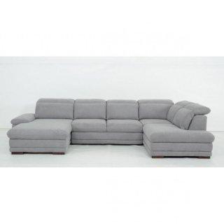 Canapé d'angle gauche convertible panoramique PARIS tissu gris clair