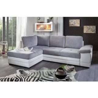 Canapé d'angle gigogne convertible express SINOPE en bi matière gris clair et blanc méridienne gauche