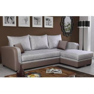 Canapé d'angle gigogne convertible express MIDLETON 140cm gris et taupe