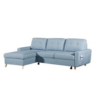Canapé d'angle gigogne gauche convertible SARSINA tissu tweed bleu ciel