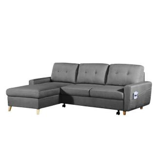 Canapé d'angle gigogne gauche convertible express SARSINA tissu tweed gris graphite