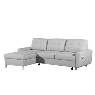 Canapé d'angle gigogne gauche convertible express SARSINA tissu tweed gris silver