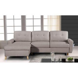 Canapé d'angle gigogne gauche convertible express SARSINA tissu tweed taupe