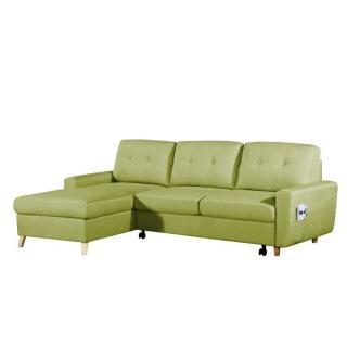 Canapé d'angle gigogne gauche convertible SARSINA tissu tweed vert