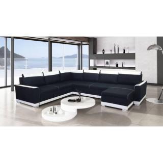 Canapé convertible NIAGARA angle panoramique noir et blanc