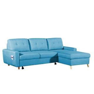 Canapé d'angle gigogne droite convertible express SARSINA tissu tweed bleu azur