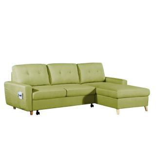 Canapé d'angle gigogne droite convertible SARSINA tissu tweed vert