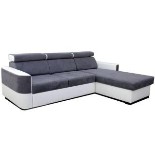 Canapé d'angle gigogne convertible express SCIROCCO tissu gris et tissu enduit façon similicuir blanc couchage 127*200cm