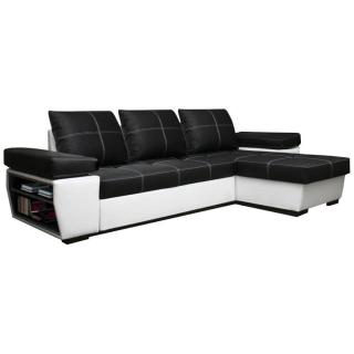 Canapé d'angle gigogne réversible convertible VICTORIA revêtement polyuréthane noir et blanc