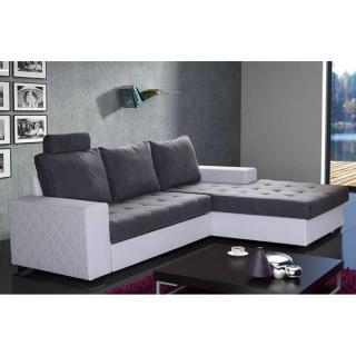 Canapé d'angle gigogne convertible WATERFORD 140cm gris et blanc