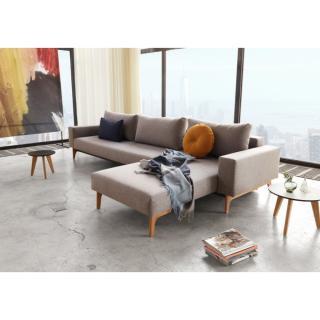 INNOVATION LIVING  Canapé design IDUN LOUNGER retour chaise-longue réversible convertible lit 290*140 cm tissu Mixed Dance Grey