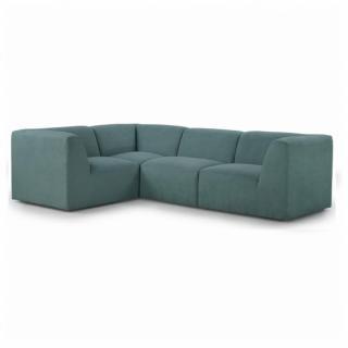 Canapé d'angle fixe modulable et réversible MOVE tissu Bleu Paon