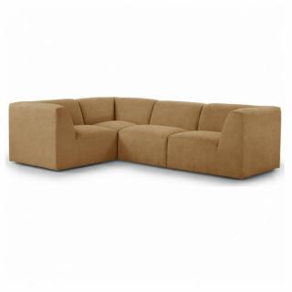 Canapé d'angle fixe modulable et réversible MOVE tissu Jaune Moutarde