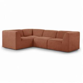 Canapé d'angle fixe modulable et réversible MOVE tissu Orange