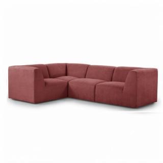 Canapé d'angle fixe modulable et réversible MOVE tissu Rouge