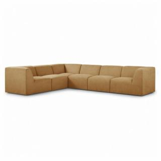 Canapé d'angle fixe modulable et réversible XL MOVE tissu Jaune Moutarde