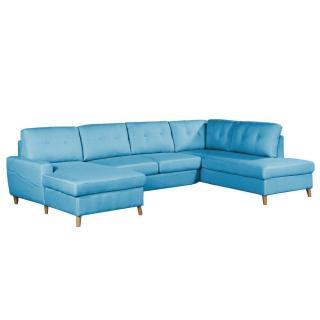 Canapé d'angle panoramique gigogne convertible express CIOLA méridienne gauche tissu tweed bleu azur