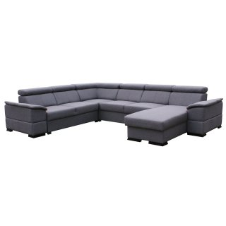 Canapé d'angle panoramique convertible MALLOW gris graphite