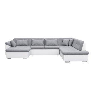 Canapé d'angle panoramique droite convertible SLIGO gris claire et blanc