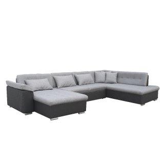 Canapé d'angle panoramique droite convertible SLIGO gris claire et noir
