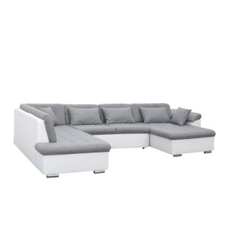 Canapé d'angle panoramique gauche convertible SLIGO gris claire et blanc