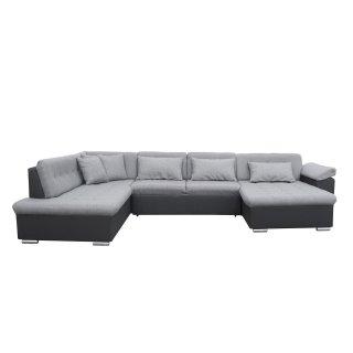 Canapé d'angle panoramique gauche convertible SLIGO gris claire et noir