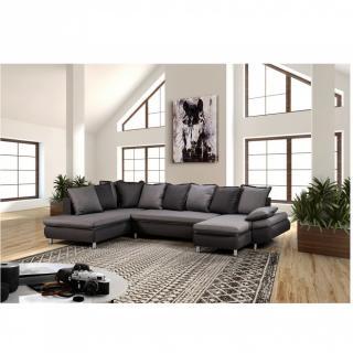 Canapé d'angle convertible panoramique HAMILTON tissu bi-ton savana gris et gris garphite