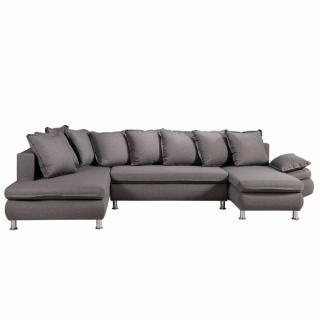 Canapé d'angle convertible panoramique HAMILTON tissu savana gris
