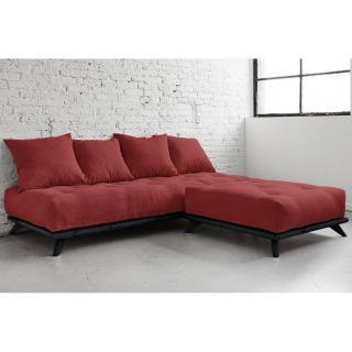 Méridienne SENZA NOIR avec chaise Lounge matelas futon rouge passion couchage 90*200cm