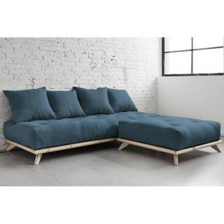 Méridienne SENZA avec chaise Lounge matelas futon deep blue couchage 90*200cm