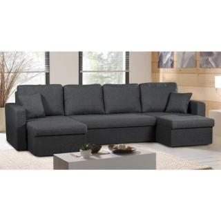 Canapé d'angle U convertible express JANUS noir