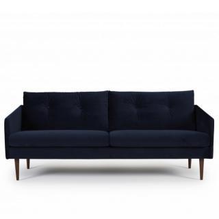 Canapé ARGON 3 places velours bleu piétement bois foncé