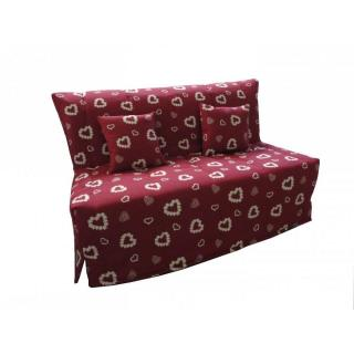 Canapé BZ convertible FLO rouge à motifs coeurs 140*200cm matelas confort BULTEX