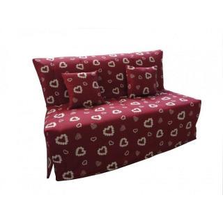 Canapé BZ convertible FLO rouge à motifs coeurs 160*200cm matelas confort BULTEX inclus