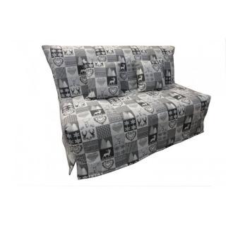 Canapé BZ convertible FLO gris à motifs cerfs 140*200cm matelas confort BULTEX