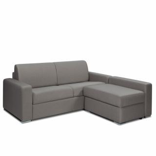 Canapé d'angle rapido DREAMER COMPACT sommier lattes avec chauffeuse coffre matelas 16 cm tweed gris silex