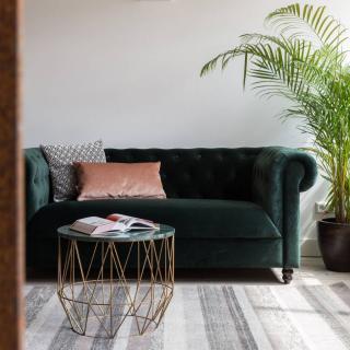 DUTCHBONE Canapé fixe 2 places CHESTER velours GREEN