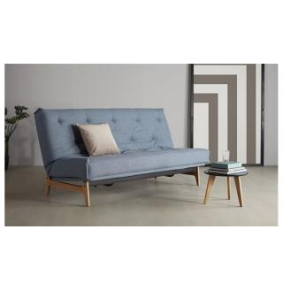 INNOVATION LIVING  Canapé convertible design ASLAK lit 140*200 cm capitonné tissu Mixed Dance Light Blue