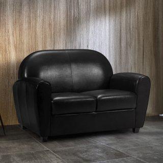 Canapé CLUB BUFALLO 2 places en polyuréthane vintage noir