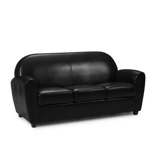 Canapé fixe CLUB BUFALLO 3 places en polyuréthane vintage noir