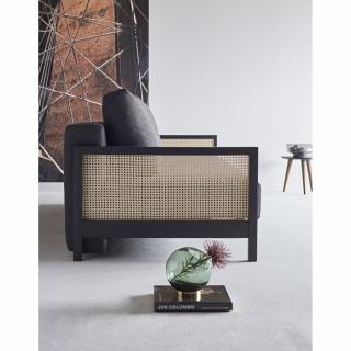 INNOVATION LIVING  Canapé design Art Deco NARVI convertible lit 200*140 cm tissu Kenya Dark Grey