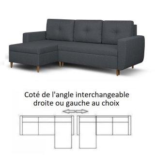 Canapé d'angle réversible et convertible gigogne DORO anthracite couchage 140x200cm