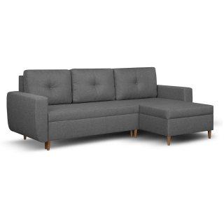 Canapé d'angle réversible et convertible gigogne DORO gris couchage 140x200cm