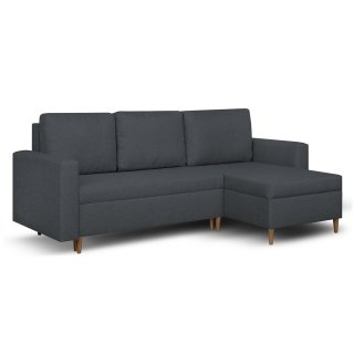 Canapé d'angle réversible et convertible gigogne KEN anthracite couchage 140x200cm
