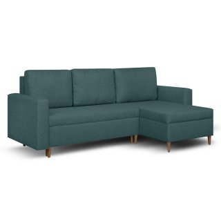 Canapé d'angle réversible et convertible gigogne KEN bleu paon couchage 140x200cm