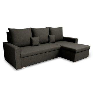 Canapé d'angle réversible et convertible gigogne MONDO anthracite couchage 130x190cm